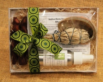 SageMyNest Sage Cleansing Gift Kit, Sage Smudge Kit Home Blessing Kit, Space Clearing, Energy Cleansing Kit - Housewarming Gift Idea