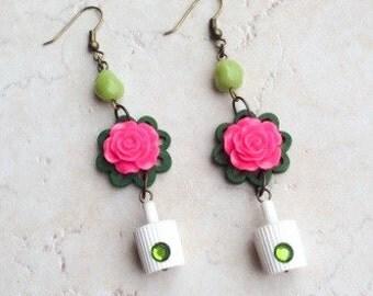 Spray Paint Graffiti Earrings, Pink Green Flower Earrings