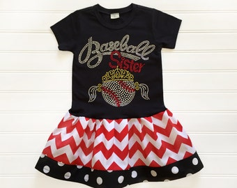 Girl Baseball Dress Rhinestone Baseball Dress Baby Toddlers 12 18 24 Months Girls 2 3 4 5 6 8