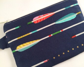 Blue Arrows Feathers Small Zippered Pouch, Wallet, Coin Purse, Phone Case, iPod Case, Vegan Wallet, Stocking Stuffer