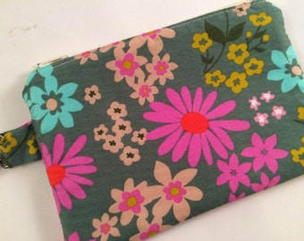 Pretty Floral Small Zippered Pouch, Wallet, Coin Purse, Notions Case, Stocking Stuffer, iPod Case, Phone Case
