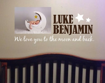 "Personalized ""I love you to the moon and back"" wall decal"