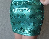 S/L only left! Emerald Chevron Sequin Skirt - Stretchy Mini/Pencil Style - Small, Large
