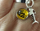 SALE was 10 now 7.00 - Kate Bush Inspired BTD Confetti  glass caberchon silver tone adjustable ring with charms