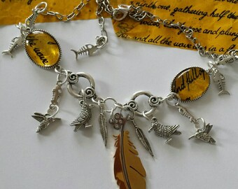 SALE was 39 was 33 - Kate Bush - Inspired  - BTD Silver tone Charm Confetti Collection Feather Necklace