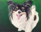 custom papillon portrait painting on canvas original from photo 12 x 12 dog cat personalized