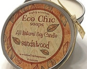 Sandalwood Soy Candle Tin 8 oz. - Sandalwood Soy Candle - Fall Soy Candle - Winter Soy Candle - Handcrafted - Highly Scented