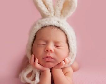 Cream fluffy mohair bunny bonnet. Choose size. Great photo photography prop. UK seller