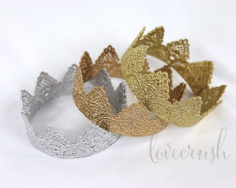 the Harper||newborn vintage lace crown || choose ONE|| gold or silver photography prop HEADBAND option (newborn-toddler)