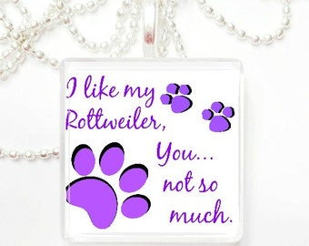 I like my Rottweiler, you not so much glass pendant