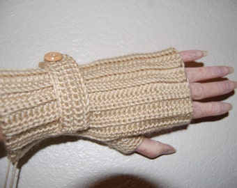 Crochet Fingerless Glove Ribbed with wood button strap blue, brown and tan available