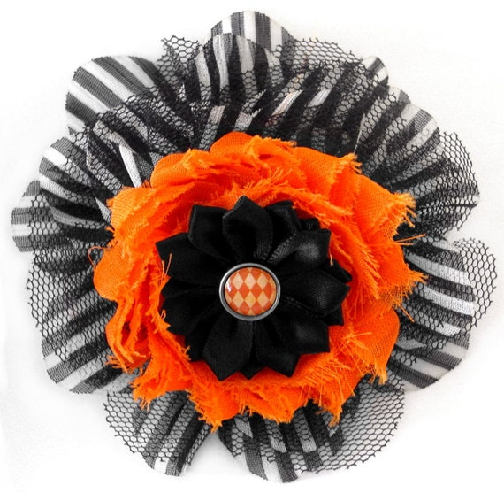 Black and White Stripe Chiffon and Black Mesh Fascinator with an Orange Rosette, Black Satin Rosette, and Vintage Inspired Harlequin Curio