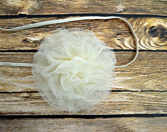 Ivory tulle headband, cream, baby headband, infant headband, newborn headband, girl headband, baby girl headband, simple headband, hair clip