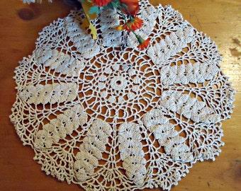 Crocheted Doily Ecru Crochet Doily Vintage Doilies Doilies Handmade  B193
