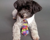 Dog Bow Tie or Dog Neck Tie with Puzzle Pieces Design and Shirt Collar