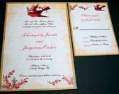 PRINTABLE Vintage Love Bird Wedding Invitation and RSVP- Digital diy Wedding Files - I set text, YOU print