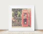 red telephone box photograph red bicycle photograph cambridge photograph english decor england photograph red bicycle print