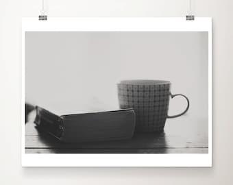 book photograph coffee photograph black and white photograph reading photograph rustic decor literature photograph book print