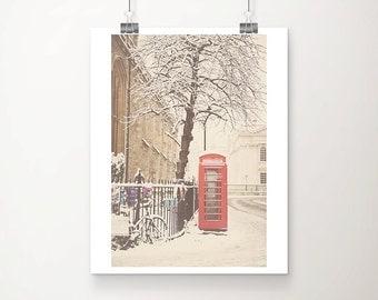 red telephone box photograph snow photograph bicycle photograph Cambridge photograph telephone box print winter photograph