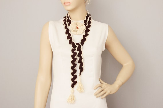 Crochet scarf,Crochet jewelry  ,necklace scarf,crochet necklace,Brown