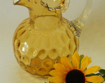 PITCHER, Vintage Amber, Hand Blown, Ruffle Top Pitcher