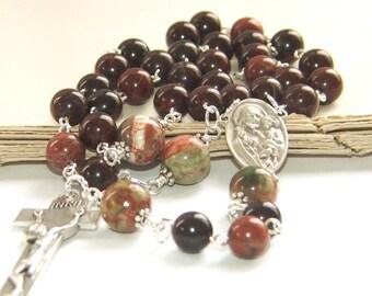Catholic Man's Rosary, Saint Joseph Center, 3 Decade Rosary with Natural Jasper Beads