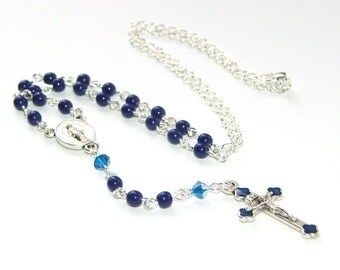 Rosary Necklace, Blue & Silver with Miraculous Medal - Marian Inspired Jewelry