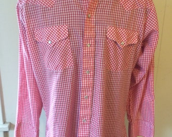 Vintage Ranch & Town Gingham Western Shirt - Size 15.5 x 33 (Medium)