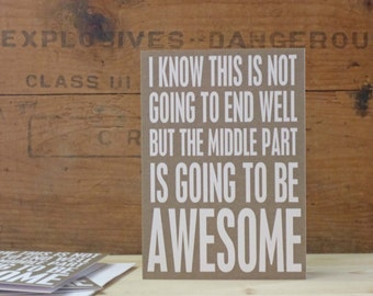 Awesome Friend Birthday Funny Greeting Card - Kraft Brown Greeting Card for Friend Funny Typography