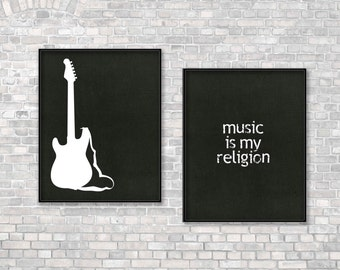 Typographic Art Print Music Print Guitar Music Quote Print Typography Music is my Religion Print