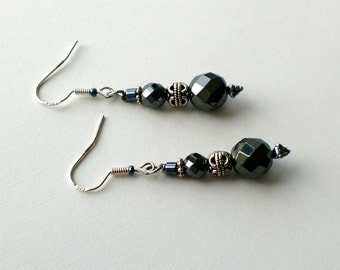 Hematite and silver dangles with antiqued silver accent beads