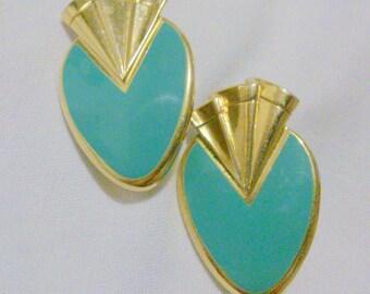 Vintage 1980's Green Enamel Gold Tone Earrings