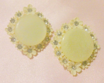 Vintage White Rhinestone Accented Carved Celluloid Earrings