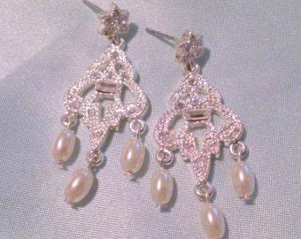 Vintage Faux Pearl and Rhinestone Drop Earrings