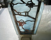 Stained Glass Sheep Night Light~ Sheep Nightlight ~ Handmade stainded glass wispy white glass nightlight