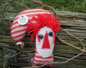 RAGGEDY CANDY CANE,  Stocking Stuffer, Christmas Ornament, Tuck, Ornie, Handmade, thebagglady76, Kandy Korn,