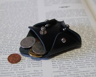 Coin Purse, Leather Coin Purse, Black Leather Coin Purse
