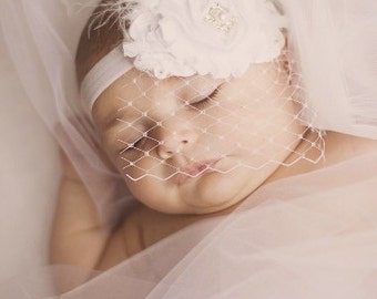 Birdcage Veil .. Vintage Christening Headband ..   Baby Baptism Headband ..  Shabby Chic