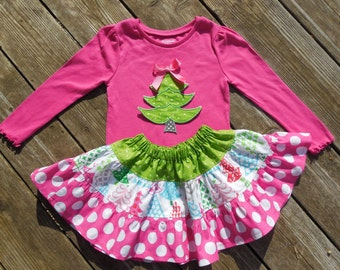 Girl's Toddlers Christmas Skirt and Shirt Outfit -  Tiered Pink and Green Skirt with Christmas Tree Applique Shirt
