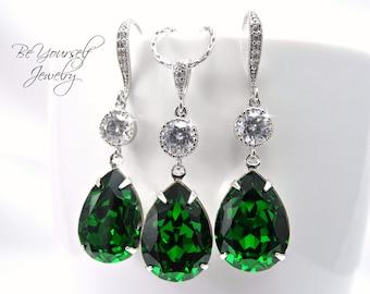 Emerald Bridal Earrings Green Teardrop Bride Necklace Swarovski Crystal Dark Moss Wedding Jewelry Dark Green Bridesmaid Gift Bridal Jewelry