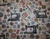 Retro Sew Machine Sewing Items Pink Cotton Fabric Fat Quarter or Custom Listing
