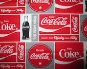Coca Cola Coke Ads Gray Red Cotton Fabric Fat Quarter or Custom Listing