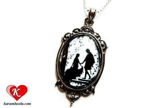 Sleeping Beauty Silhouette Art Nouveau Necklace silvercolored - fairy tale special gift sister best friend mother daughter jewelry