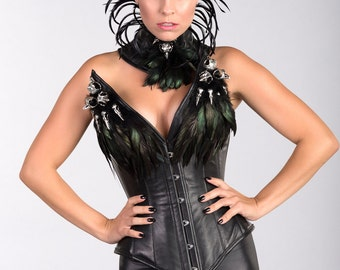 Leather Corset with Raven/Owl Skulls with Matching Neck Corset
