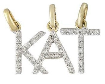 Dainty 14K White Gold and Diamond Letter Pendants Handcrafted by BareandMe on Etsy,Gold and Diamond Letter Pendants,Diamond Initial Jewelry