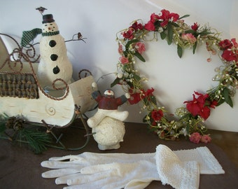 Sale WINTER HOLIDAY DECOR - Metal Snow Sleigh - Vintage Long White Bead Opera Gloves Tabletop Snowmen - Red Silk Flower & Berry Heart Wreath