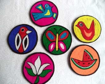 Bright coasters/ Vintage yarn coasters/ multi color bohemian decor/ bird butterfly flower coasters/ set of 6 ethnic coasters