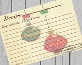 Christmas Recipe Cards 4x6 Holiday Ornaments Printable Recipe Card 3x5 Instant Download 3.5x5 Vintage Christmas Hostess Gift