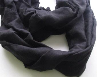 Shawl scarf poly cotton mix-black on black cotton polyester scarf . Hanwoven men women scarf- Ebony Jet black- unisex gift black