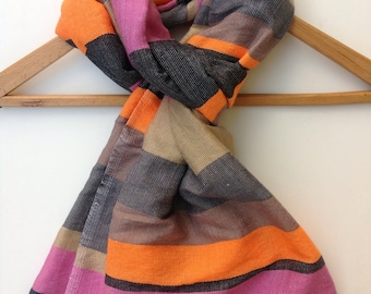Multicolored luxurious cotton wool Scarf /Color block/Gray Grey Black Taupe Sand Pink Orange Peach Neon Handwoven Ethiopian scarf